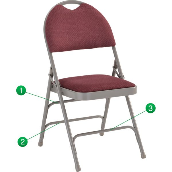 Flash Furniture HERCULES Series Extra Large Ultra-Premium Triple Braced Burgundy Fabric Metal Folding Chair with Easy-Carry Handle