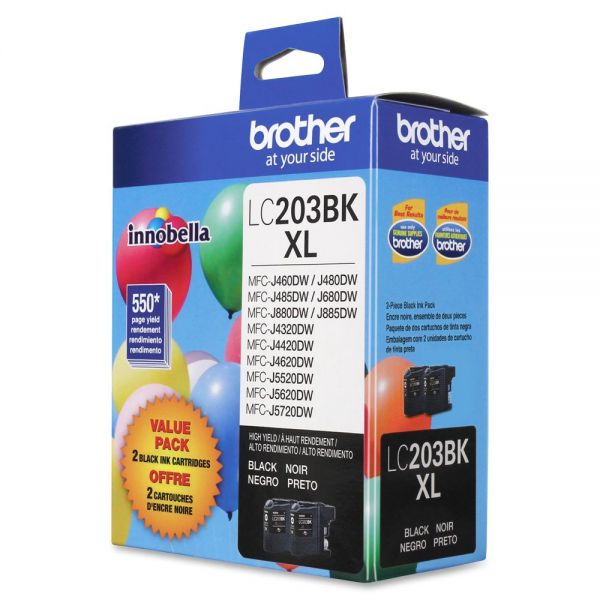 Brother LC203BKXL High Yield Black Ink Cartridges (LC2032PKS)
