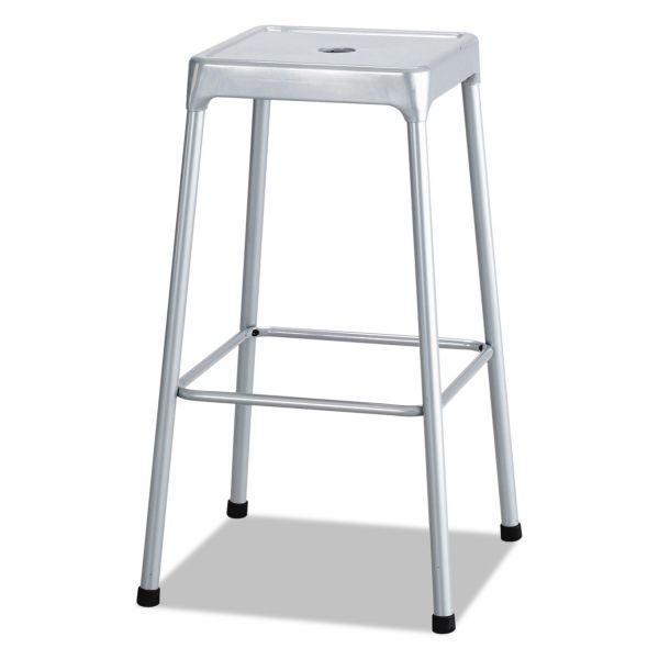 Safco Bar-Height Steel Stool, Silver