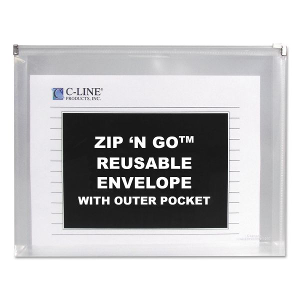 C-Line Zip n Go Reusable Envelope w/Outer Pocket, 13 x 10, Clear, 3/Pack