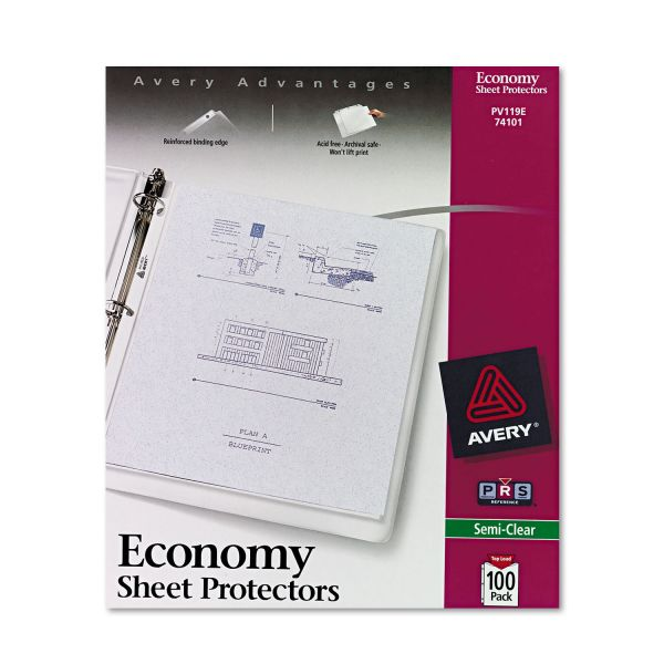 Avery Top-Load Sheet Protector, Letter, Economy Gauge, Semi-Clear, 100/Box
