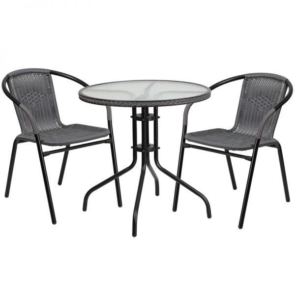 Flash Furniture 28'' Round Glass Metal Table with Gray Rattan Edging and 2 Gray Rattan Stack Chairs