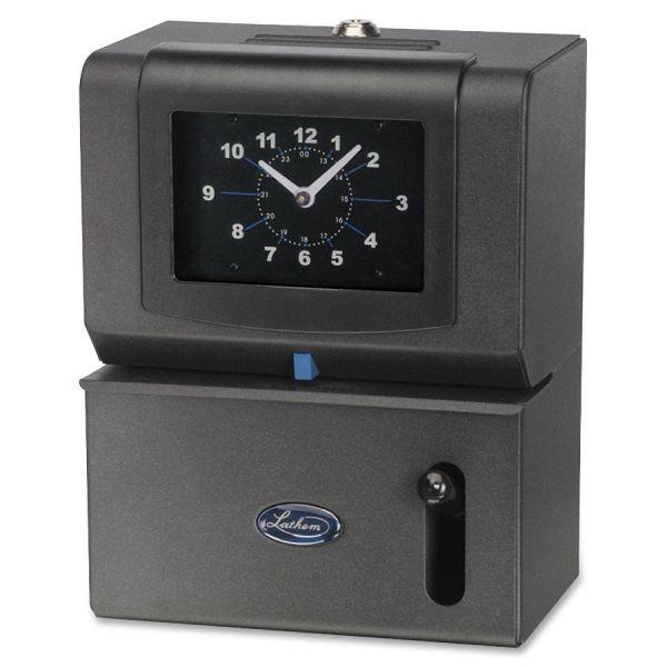 Lathem Time Heavy-Duty Time Clock, Mechanical, Charcoal