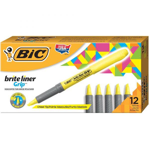BIC Brite Liner Grip Pocket Highlighter, Chisel Tip, Fluorescent Yellow, Dozen