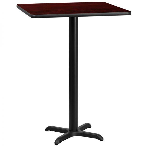 Flash Furniture 24'' Square Mahogany Laminate Table Top with 22'' x 22'' Bar Height Table Base