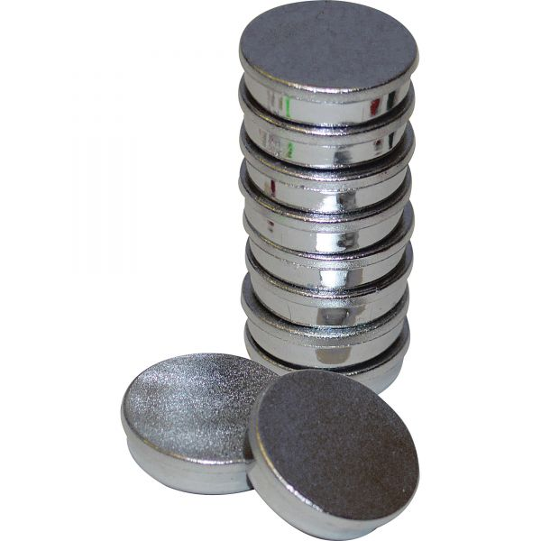 "MasterVision High-Intensity Magnets, 1 1/4"" dia, Silver, 10/Pack"