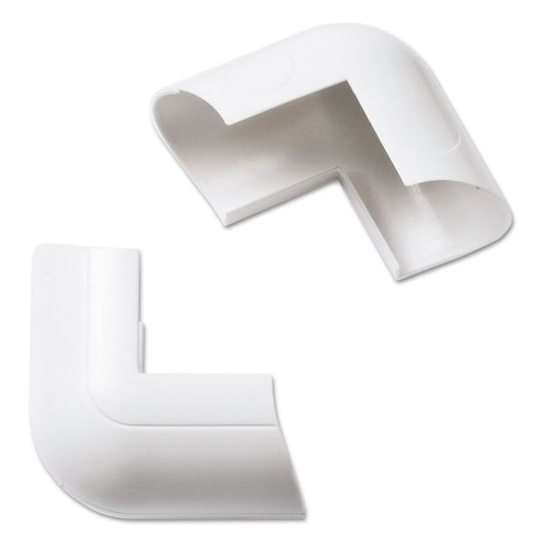 D-Line Clip-Over External Bend for Mini Cord Cover, White, 2 per Pack