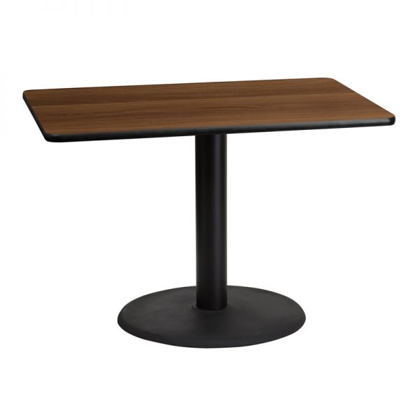 Flash Furniture 30'' x 42'' Rectangular Walnut Laminate Table Top with 24'' Round Table Height Base