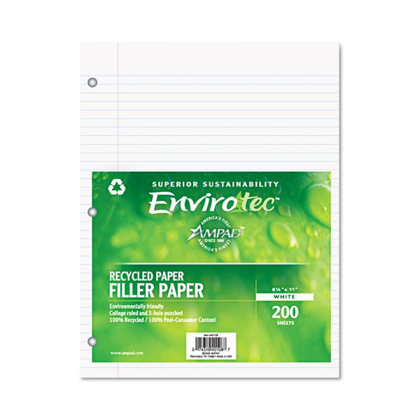 Ampad Recycled College Ruled Loose Leaf Paper