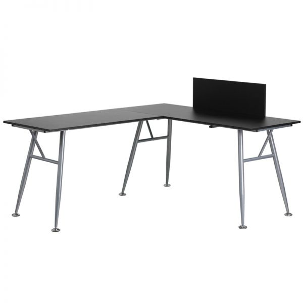 Flash Furniture Black Laminate L-Shape Computer Desk with Silver Frame Finish