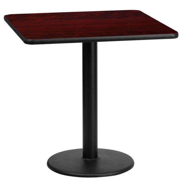Flash Furniture 24'' Square Mahogany Laminate Table Top with 18'' Round Table Height Base