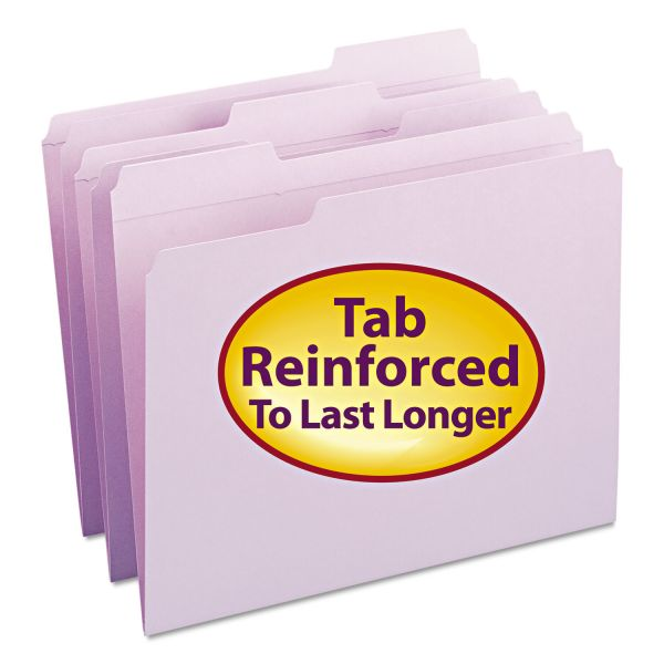 Smead File Folders, 1/3 Cut, Reinforced Top Tab, Letter, Lavender, 100/Box