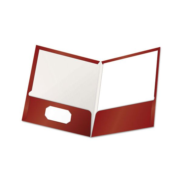Oxford High Gloss Laminated Paperboard Folder, 100-Sheet Capacity, Crimson, 25/Box