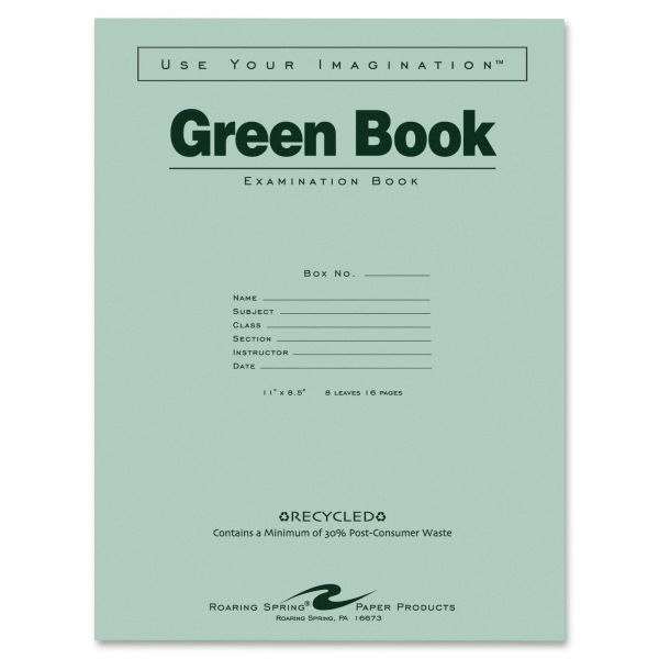 Roaring Spring Recycled Wide Ruled Exam Book