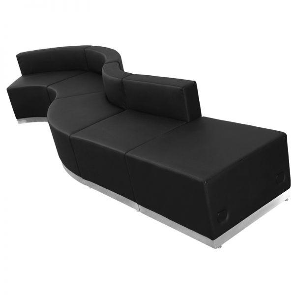 Flash Furniture HERCULES Alon Series Black Leather Reception Configuration, 5 Pieces