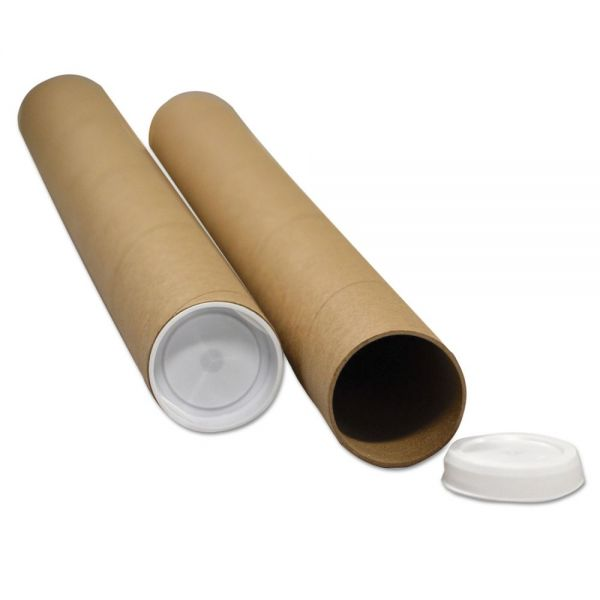 "General Supply Round Mailing Tubes, 20l x 2"" dia., Brown Kraft, 25/Pack"