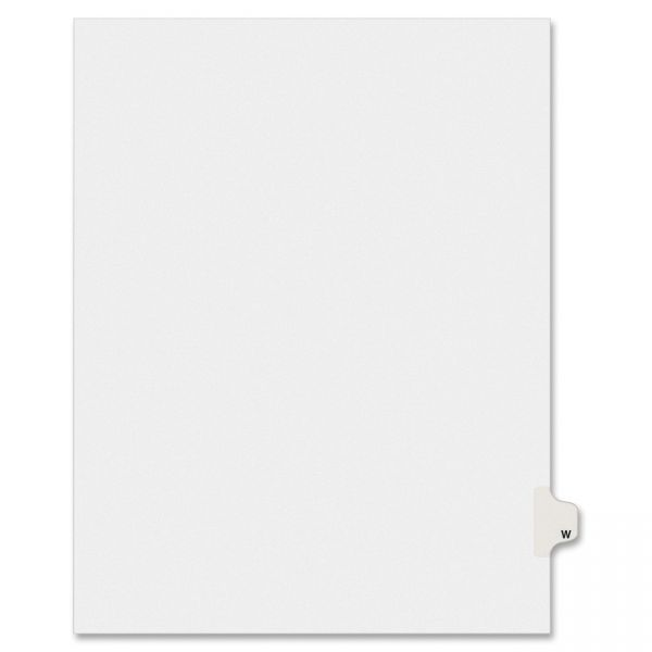 Avery-Style Legal Exhibit Side Tab Dividers, 1-Tab, Title W, Ltr, White, 25/PK