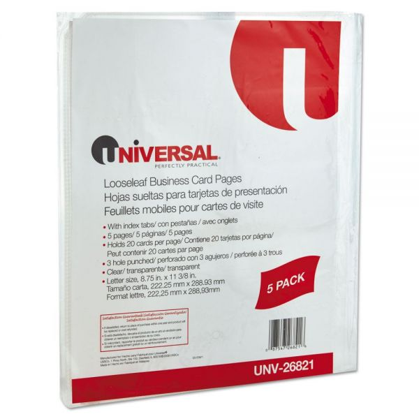 Universal Business Card 3-Ring Binder Pages, 20 2 x 3 1/2 Cards per Page, 5 Pages per Pack