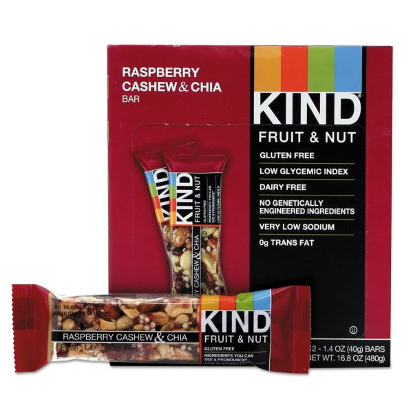 KIND Fruit and Nut Bars, Raspberry Cashew & Chia, 1.4 oz Bar, 12/Box