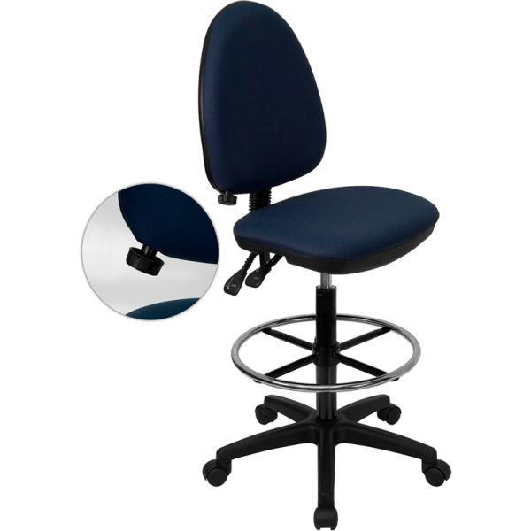 Flash Furniture Mid-Back Multi-Functional Drafting Chair with Adjustable Lumbar Support