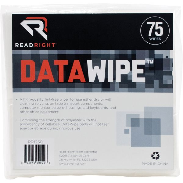 Read Right DataWipe Office Equipment Cleaner, Cloth, 6 x 6, White, 75/container