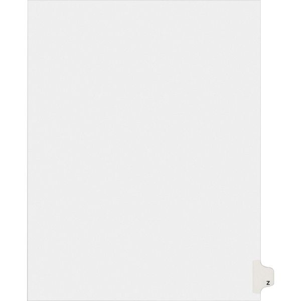 Avery Allstate-Style Legal Exhibit Side Tab Divider, Title: Z, Letter, White, 25/Pack