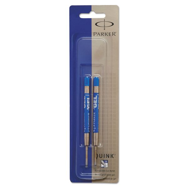 Parker Refill for Gel Ink Roller Ball Pens, Medium, Blue Ink, 2/Pack