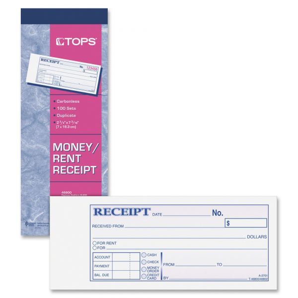 TOPS Money/Rent 2-Part Receipt Book