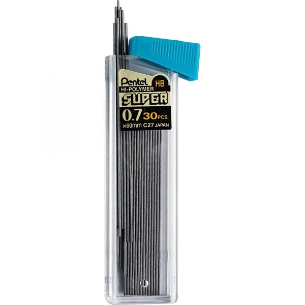Pentel Super Hi-Polymer Lead Refills, 0.7mm, HB, Black, 30/Tube