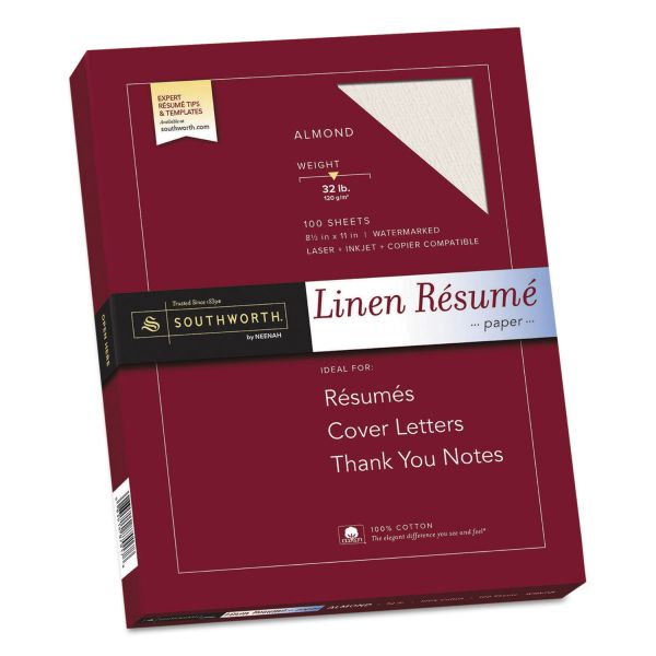 Southworth 100% Cotton Linen Resume Paper, 32lb, 8 1/2 x 11, Almond, 100 Sheets