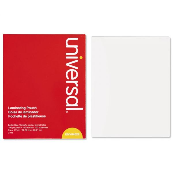 Universal Clear Laminating Pouches, 3 mil, 9 x 11 1/2, 100/Box