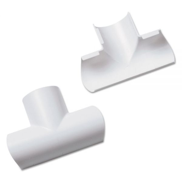 D-Line Clip-Over Equal Tee for Mini Cord Cover, White, 2 per Pack