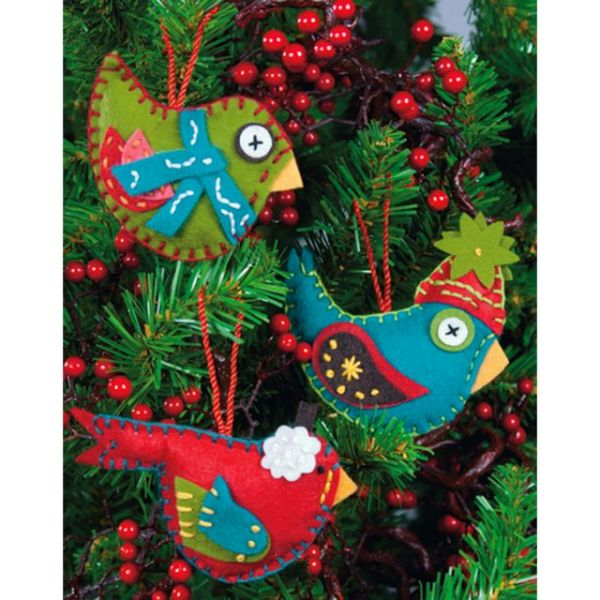 Whimsical Birds Ornaments Felt Applique Kit
