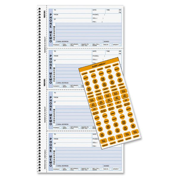 Rediform Wirebound Message Book, 5 x 2 3/4, Two-Part Carbonless, 400 Forms, 120 Labels