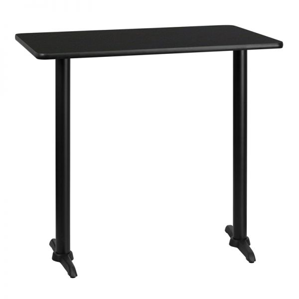 Flash Furniture 30'' x 42'' Rectangular Black Laminate Table Top with 5'' x 22'' Bar Height Table Bases