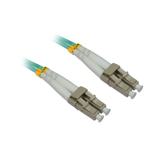 4XEM 5M AQUA Multimode LC To LC 50/125 Duplex Fiber Optic Patch Cable