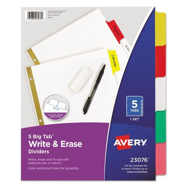 Avery Write & Erase Big Tab Paper Dividers, 5-Tab, Multi-color Tab, Letter, 1 Set