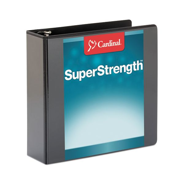 "Cardinal SuperStrength ClearVue Locking 3-Ring View Binder, 3"" Capacity, Slant-D Ring, Black"