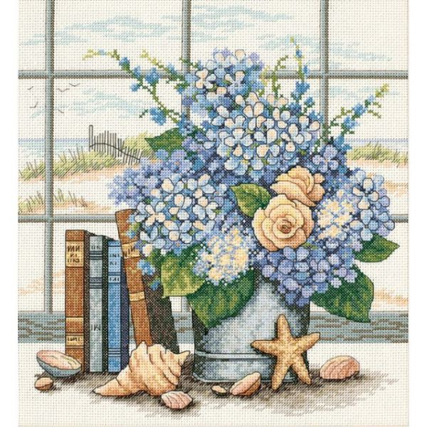 Dimensions Hydrangeas & Shells Counted Cross Stitch Kit