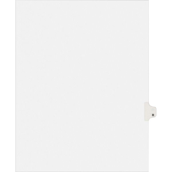 Avery Allstate-Style Legal Exhibit Side Tab Divider, Title: R, Letter, White, 25/Pack