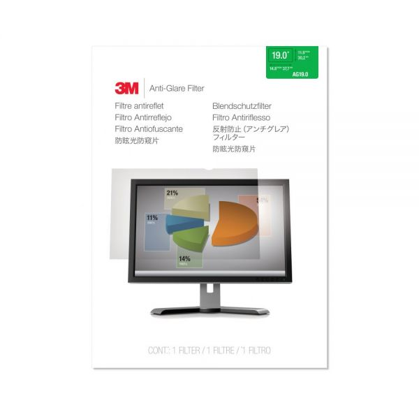 "3M AG19.0 Anti-Glare Filter for Standard Desktop LCD Monitor 19"" Clear"