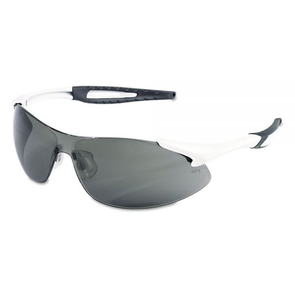 Crews Inertia Safety Glasses, White Frame, Gray Anti-Fog Lens, One Size