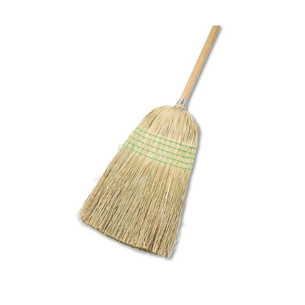 "Boardwalk Parlor Broom, Yucca/Corn Fiber Bristles, 56"", Wood Handle, Natural, 12/Carton"