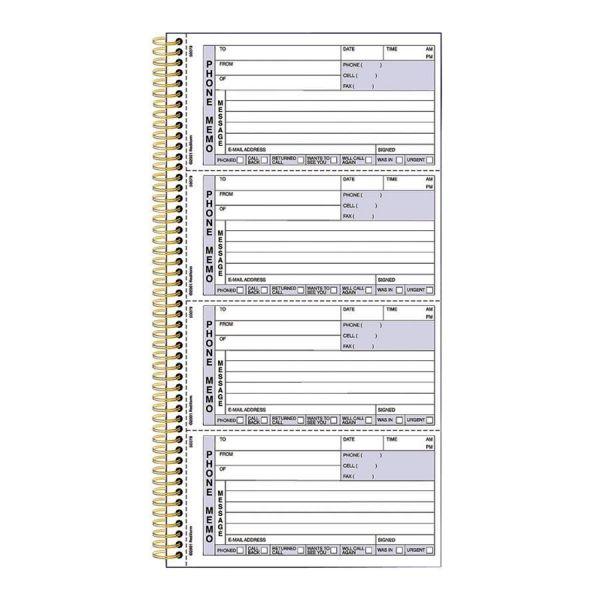 Rediform Wirebound Message Book, 5 x 2 3/4, Two-Part Carbonless, 600 Sets/Book