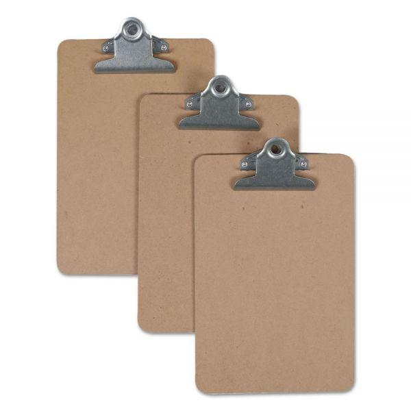 "Universal Hardboard Clipboard, 3/4"" Capacity, 5 x 8 Sheets, Brown"