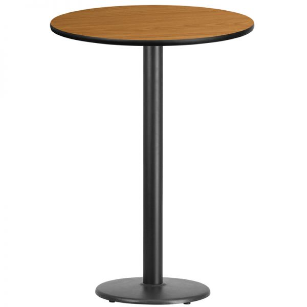 Flash Furniture 30'' Round Natural Laminate Table Top with 18'' Round Bar Height Table Base
