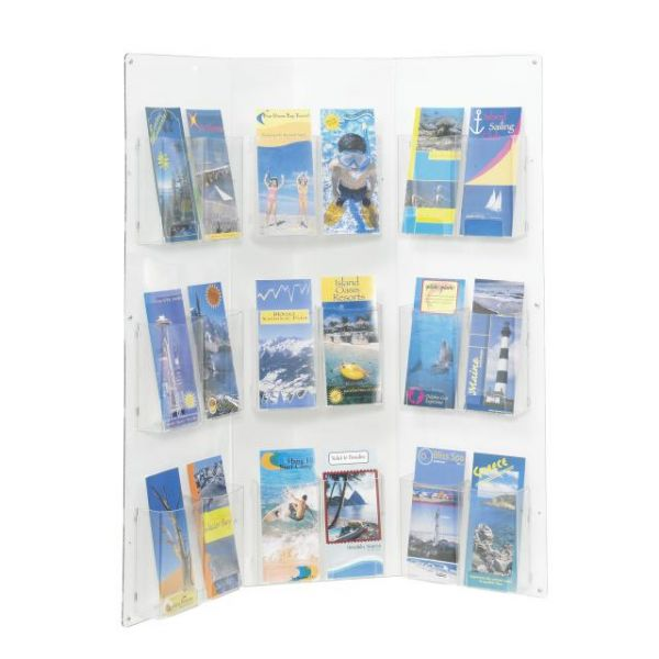 Safco Clear2c 3-Panel 18-Pamphlet Corner Displays