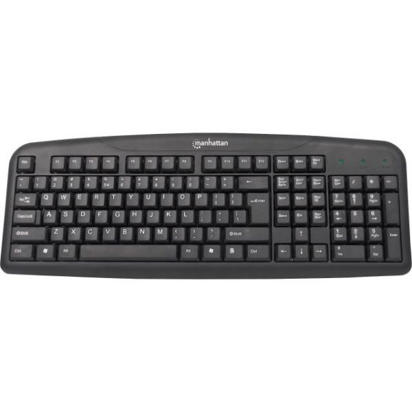 Manhattan USB Enhanced Keyboard, Black, Brown Box