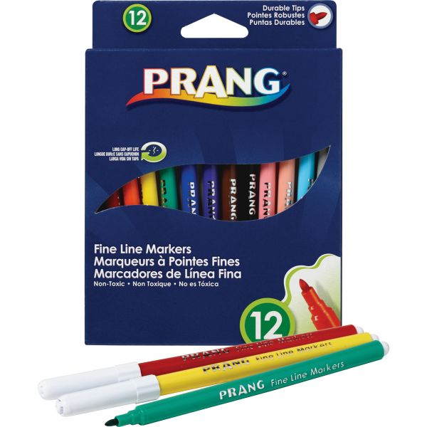 Dixon Prang Washable Markers, Fine Point, 12 Assorted Colors, 12/set