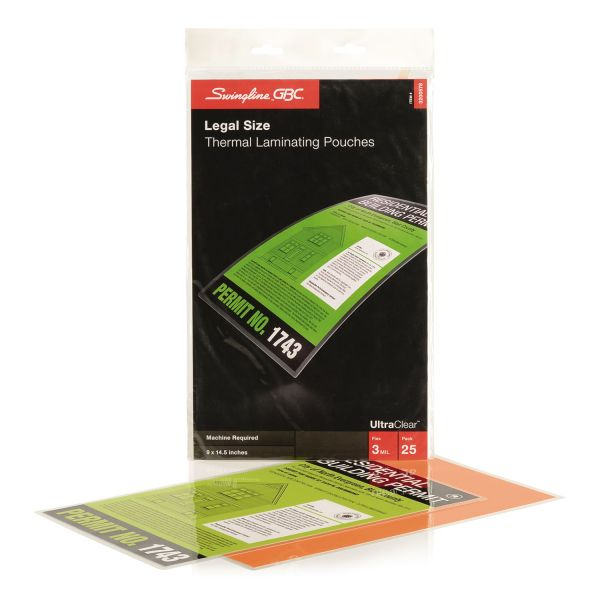 GBC HeatSeal Legal Size Laminating Pouches